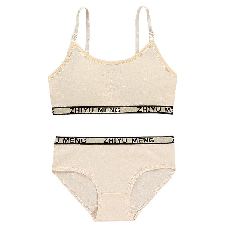 Summer Wireless Sports Cotton Training Bras Young Girls Bra and Panties Sets Kids Lingerie Children Underwear 4