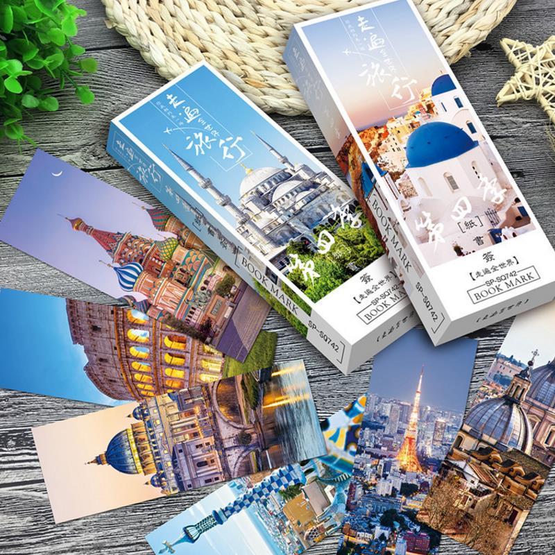 32 Pcs/box Creative Fashion World Scenery Bookmark Paper Travel Bookmark Promotional Gift Stationery Bookmark Gift