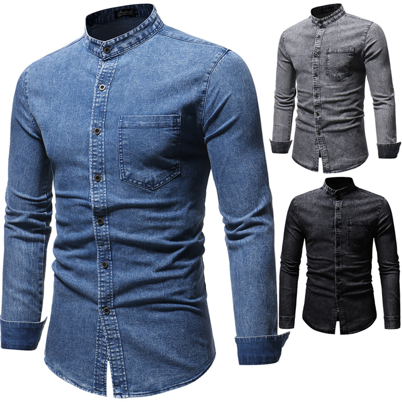 JACKEYWU Denim Shirts Men 2019 Fashion Korean Washed Jean Shirt Mandarin Collar Long Sleeve Casual Shirts Slim Men's Clothing