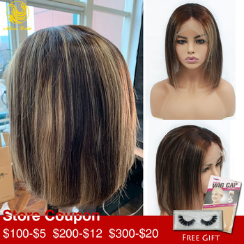 Alisa Hair 13*4 Lace Front Wig Balayage Human Hair Wigs for Black Women Ombre Brown Honey Blonde Highlight Short Bob Wigs highlight short ombre bob lace front wig blonde balayage hair extensions cheap closure wig brazilian human hair for black women