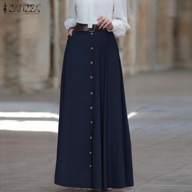 Women Maxi Skirt ZANZEA 2020 Fashion Ladies High Waist A Line Skirts Vintage Faldas Mujer Casual Loose Pockets Long Jupe Femme