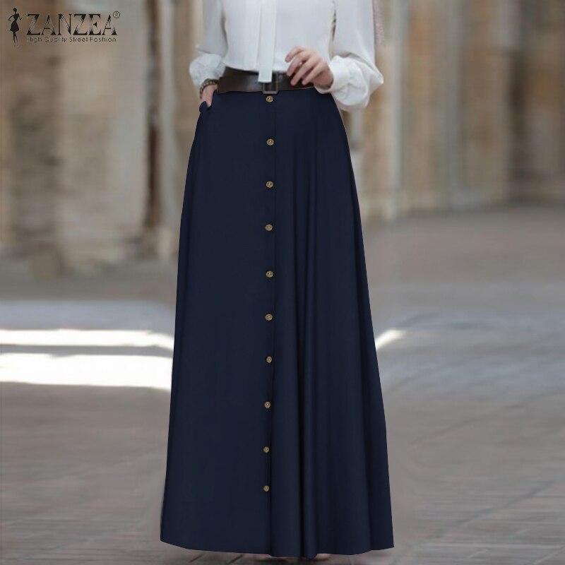 Женская юбка макси ZANZEA 2020, модная женская юбка трапециевидной формы с высокой талией, винтажные юбки, повседневные свободные длинные юбки с карманами|Юбки|   | АлиЭкспресс - Юбки