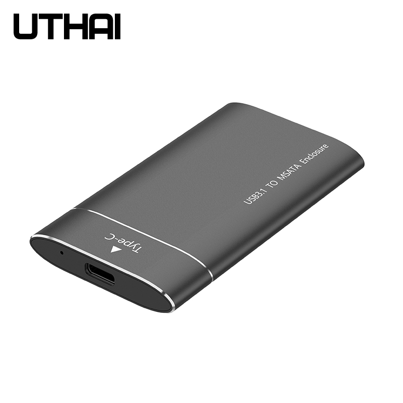 UTHAI T37 MSATA To USB3.0  HDD Enclosure Aluminum Alloy Adapter Mini-SATA SSD To USB3.1 Type-C HDD Case For 1.8 Inch Sata3 Box