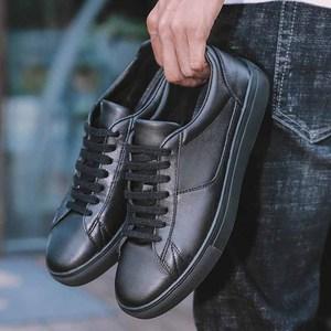 Image 2 - Мужские кожаные кроссовки REETENE, черные однотонные повседневные кроссовки на шнуровке, удобная мягкая обувь белого цвета, 2019