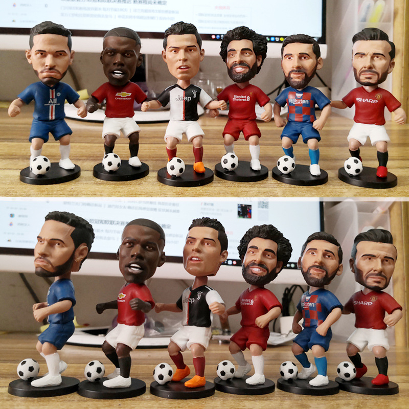 10cm Football Stars PVC Action Figure Toy C Ronaldo Messi Bobble Head Shaking Head Dolls Model Toys Car Decoration For Gift