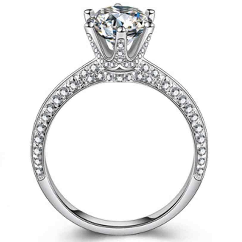 YANHUI יוקרה 2.0ct המעבדה יהלומי חתונת אירוסין לכלה 100% אמיתי 925 כסף סטרלינג טבעות נשים תכשיטים RX279
