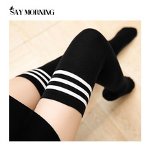 SAY MORNING Warm Thigh High Socks For Ladies Girls Schoolgirl Uniform Long Socks Women Stockings Striped Knee Socks