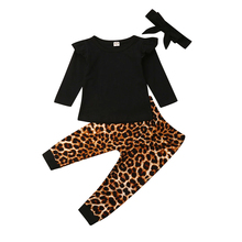 Infant Kids Baby Girl Tops T-shirt Blouse Leopard Pants Outfits Clothes Set kids gingham blouse with pants