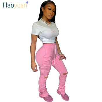 HAOYUAN Sexy Hole wysokiej talii ułożone spodnie dresowe damskie biegaczy 2020 elastyczne letnie legginsy Bell Bottom spodni Flare Ruched Pant tanie i dobre opinie COTTON Poliester Pełnej długości HA8756 Stałe Streetwear Spodnie pochodni Mieszkanie skinny Osób w wieku 18-35 lat
