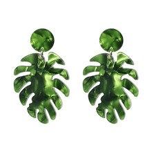 Palm Leaf Women Statement Earrings Acrylic Resin Green Leaves Dangle Earring Fashion Jewelry Summer Eardrop