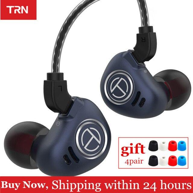 Auriculares intrauditivos TRN V90 1DD 4BA Hybrid auriculares con graves HIFI, dispositivo con Monitor de Metal, cancelación de ruido, V80 ZSX X6, 10 unidades