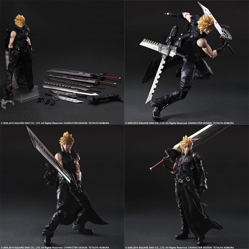 28Cm Play Arts Final Fantasy Vii Cloud Strife Action Figure Pvc Cloud Strife Collection Model Speelgoed Pop|null|   -