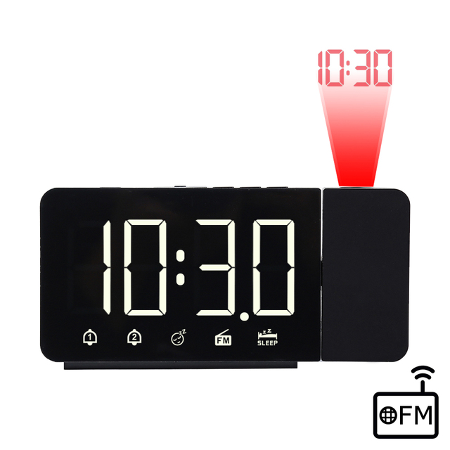 FanJu LED Digital Alarm Clock Watch Table Electronic Desktop Clocks USB Wake up FM Radio Time Projector Snooze Function 2 Alarm