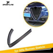 Передняя решетка из углеродного волокна решётка радиатора с сеткой крышка для Alfa Romeo Stelvio Стандартный внедорожник 4 двери TI
