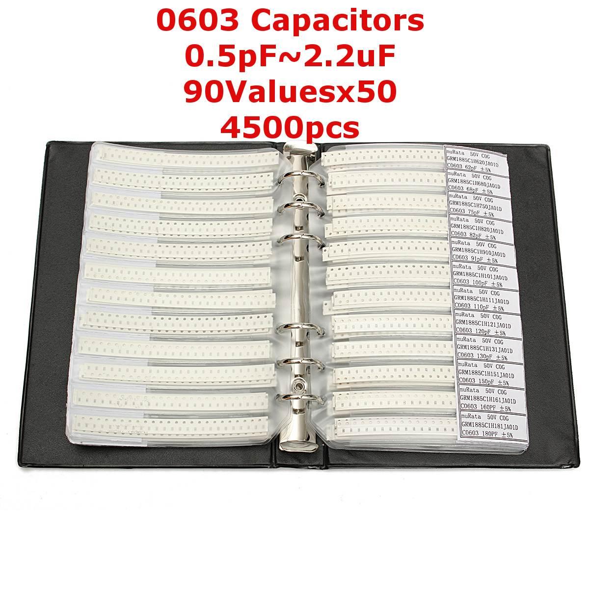 0603 SMD конденсатор с алюминиевой крышкой, книга с образцами 90valuesX50pcs = 4500 шт. 0.5PF ~ 2,2 мкФ набор различных конденсаторов пакет