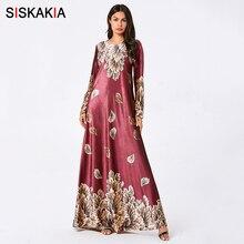 Siskakia Plus Size Dress Long Velvet Hot Stamping Printing M