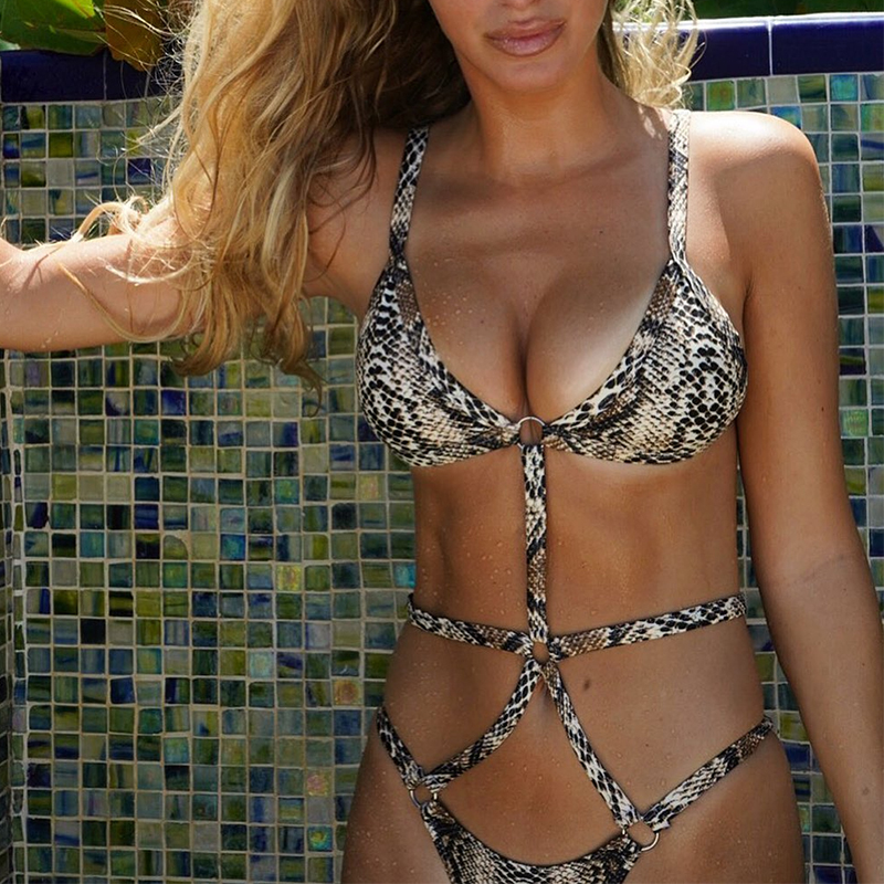 Peachtan Snake print one piece swimsuit female Sexy bandage bikini 2019 High cut swimwear women Monokini Triangle bathing suit 2
