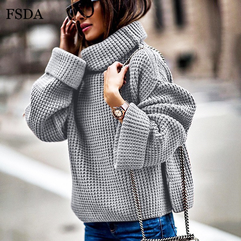 FSDA Loose Turtleneck Knitwear Women Sweater Oversized Long Sleeve Plus Size Autumn Winter White Gray Black Warm Casual Pullover