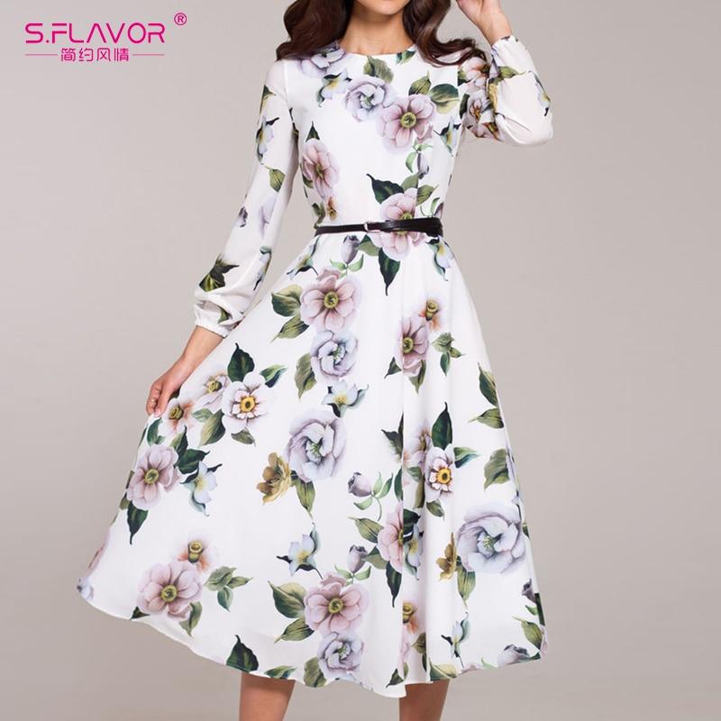 S. sabor feminino casual vestido de cintura manga outono inverno impressão festa vestidos senhoras elegante vintage a linha vestidos sem cinto