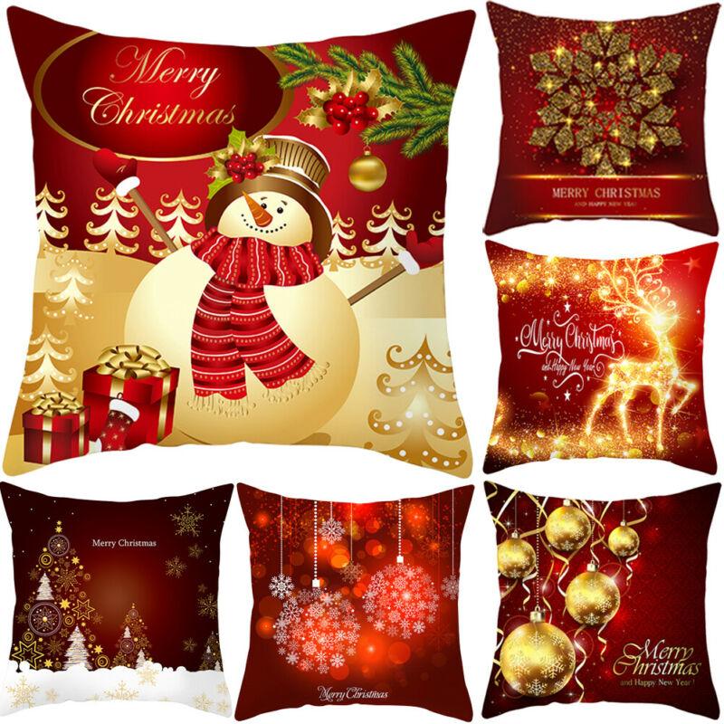 1PC Merry Christmas Print Pillow Case Polyester Sofa Car Cushion Cover Home Decor Pillowcase Sofa Decorative Cushions