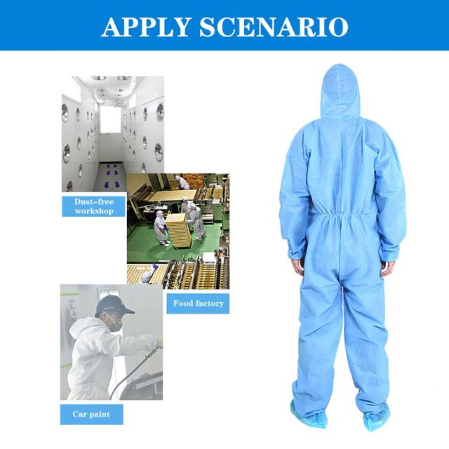 PPE Suit Disposable Full Body Protective Suit Antibacterial Closures Isolation Suit Protective Clothing Coveralls Waterproof 5