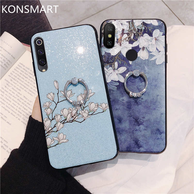 Soft Flower Glitter Blingbling Diamond Case For Xiaomi Redmi Note 7 6 Pro 5 5A 4 4X With Finger Ring Holder Phone Cases Couqe Note7 Note5 K20 KONSMART
