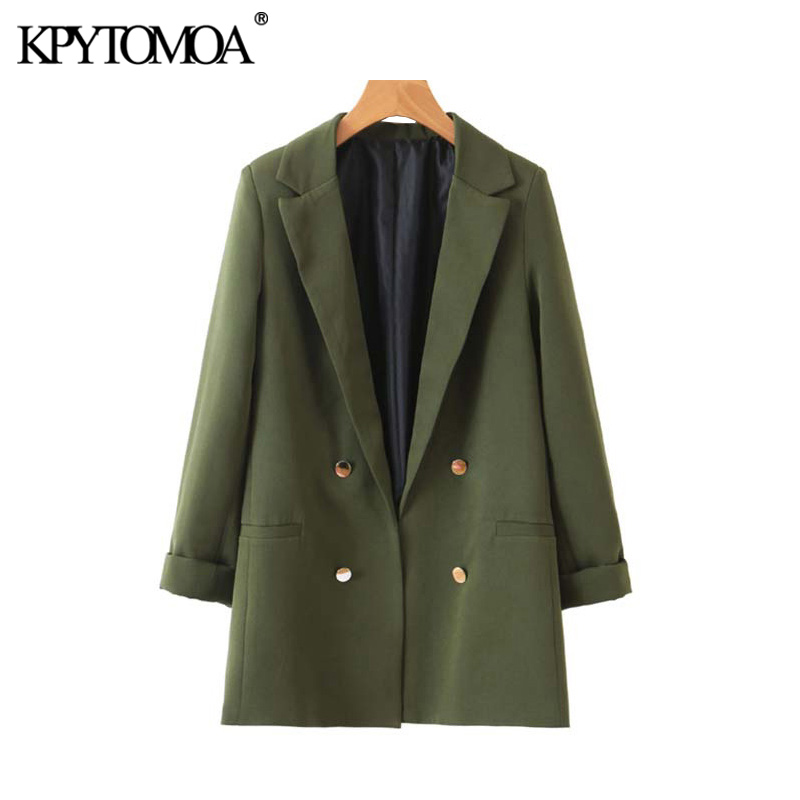 KPYTOMOA Women 2020 Fashion Office Wear Buttons Blazers Coat Vintage Three Quarter Sleeves Pockets Female Outerwear Chic Tops