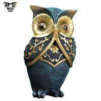 3 unids/set resina búho lindo figuras animales arte de la estatua casa Oficina tienda de accesorios de decoración Artesanías hechas a mano escultura moderna
