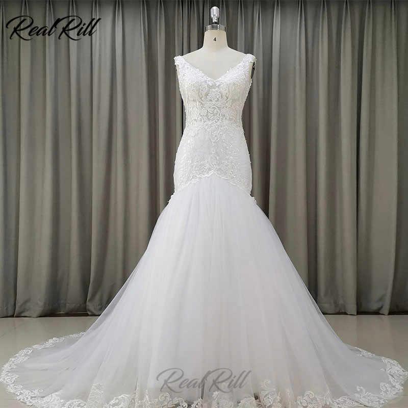 Gerçek Rill V Yaka Mermaid düğün elbisesi 2019 Mariage Tül Gelinlikler Dantel Aplikler Dantel Kenar ve Payetler Fermuar Geri