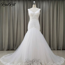 Real Rill V-Neck Mermaid Wedding Dress 2019 Mariage Tulle Wedding Gowns With Lace Appliques Lace Edge & Sequins Zipper Up Back