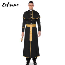 Echoine Leader Religioso Uomo Adulto Costume Uomo Sinfully Hot Robe Mens Celeste Cattolica Sacerdote Costumi di Halloween Uniformi M-XL(China)