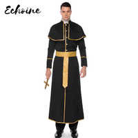 Echoine líderes religiosos adultos hombre disfraz hombre Sinfully Hot bata hombres Dios católico cura disfraces Halloween uniformes M-XL