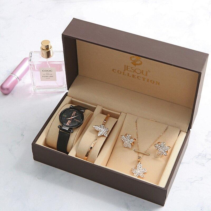 New Fashion Women Watches Set Luxury Diamond sea star Earrings Necklace Bracelet Set Ladies Watch For Women Valentine Gift