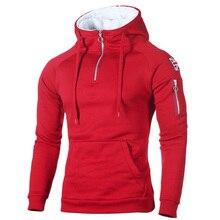 Men's Hoodies Sportswear Sweatshirts Long-Sleeve Zipper Fleece Pocket Autumn Winter Sticker