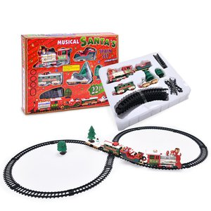 2020New Christmas Electric Rail Car Train Toy Children's Electric Toy Railway Train Set Racing Road Transportation Building Toys