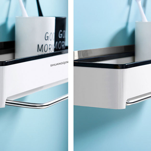 Image 4 - Punch livre organizador do banheiro prateleira cosméticos shampoo rack de armazenamento de banho toalha de cozinha titular artigos do agregado familiar acessórios do banheiro