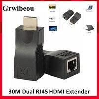 Grwibeou-extensor HDMI, hasta 30m, CAT5e / 6 UTP, Cable Ethernet, puertos RJ45, red LAN