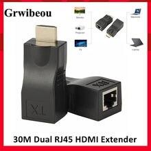 Grwibeou przedłużacz HDMI rozszerzenie HDMI do 30m przez CAT5e / 6 UTP LAN kabel Ethernet porty RJ45 sieć LAN
