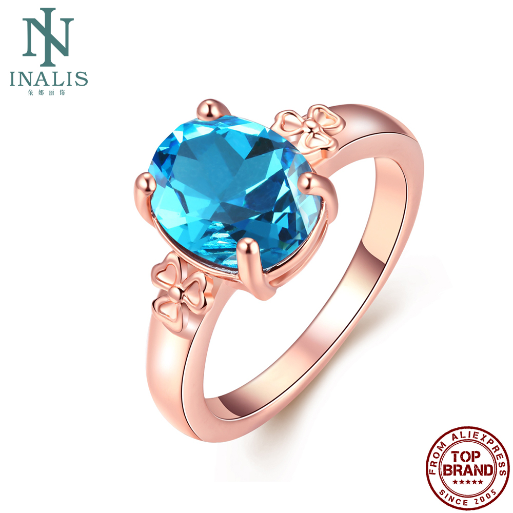 INALIS Big Blue Glass Romantic Rings For Women Rose Gold Plated Simple Girl Ring Engagement Fashion Jewelry New Listing On Sale