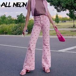 ALLNeon Y2K Aesthetics Pink Printing Flare Pants E-girl Vintage High Waist Baggy Trousers 90s Fashion Streetwear Long Bottoms