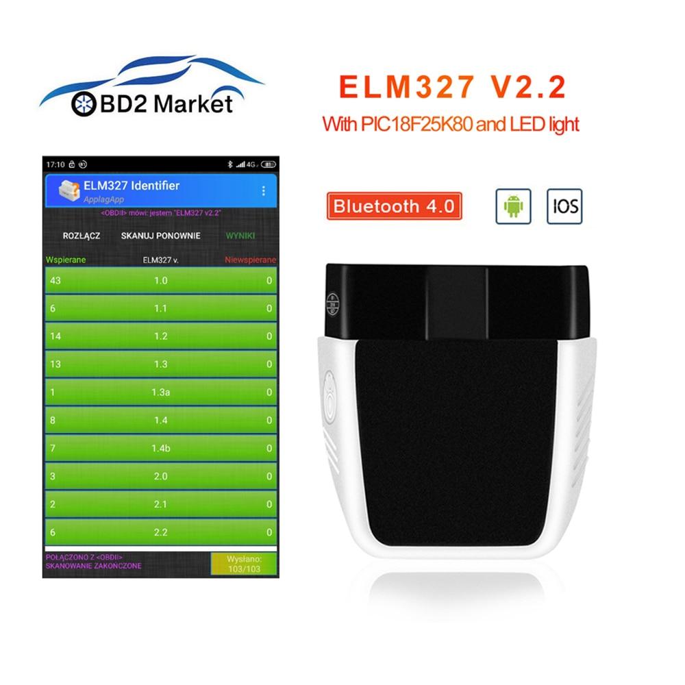 ELM327 V2.2 PIC18F25K80 ELM 327 V2.2 OBD OBD 2 Bluetooth 4.0 For Android/IOS v1.5 OBD2 car diagnostics scan tool obd2 scannerCode Readers & Scan Tools   -