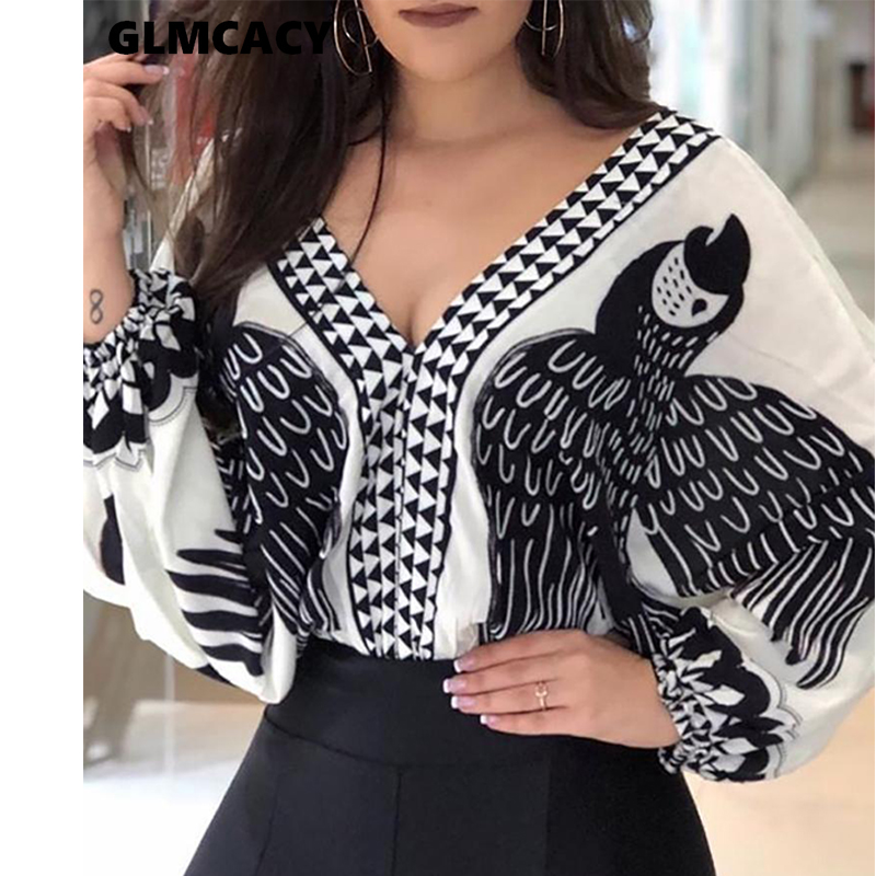 Women Bird Printed Plunge V-neck Lace Up Backless Puff Sleeve Top Blouse Spring Fall Casual Street Wear Fashion Shirt