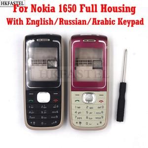 Сменные детали для Nokia 1650, Высококачественный новый полноразмерный мобильный телефон, корпус, чехол + клавиатура + инструменты, бесплатная д...