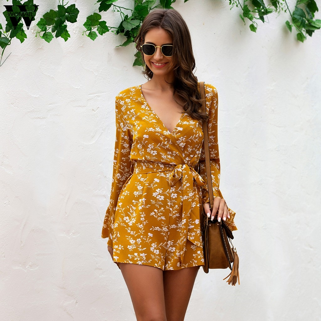 Women Jumpsuit Summer 2020 Mujer Playsuit Women V-Neck Bow Sashes Floral Print Short Sleeve Romper Short Playsuit Beach Holiday