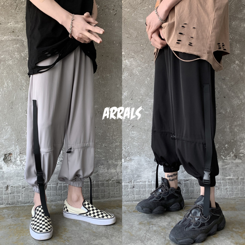 Summer Elastic Waist Casual Pants Men's Fashion Solid Color Sweatpants Men Streetwear Wild Loose Hip-hop Tooling Trousers M-2XL