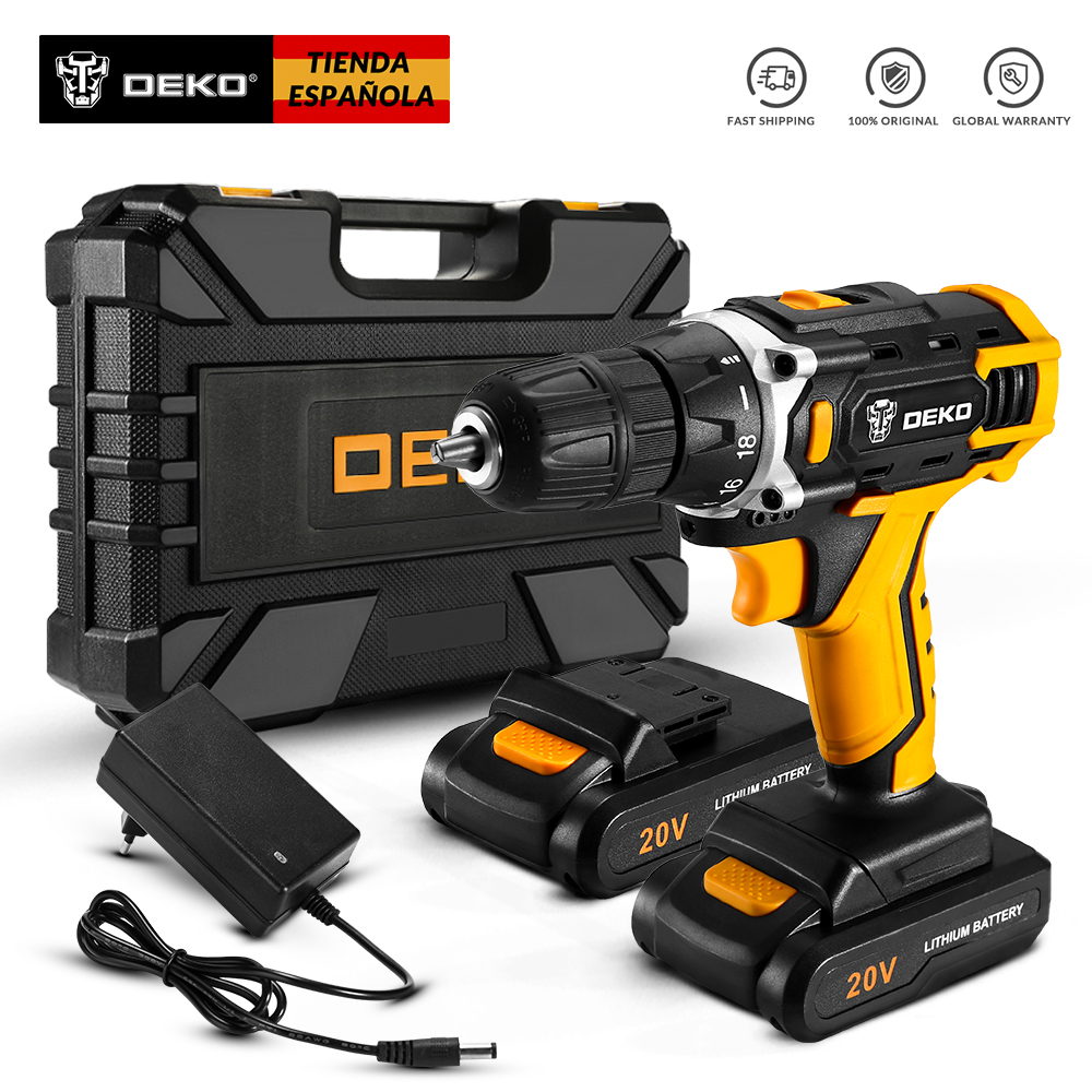 DEKO New Sharker 20V Cordless Drill Electric Screwdriver Mini Wireless Power Driver DC Lithium-Ion Battery 3/8-Inch 2 Speed