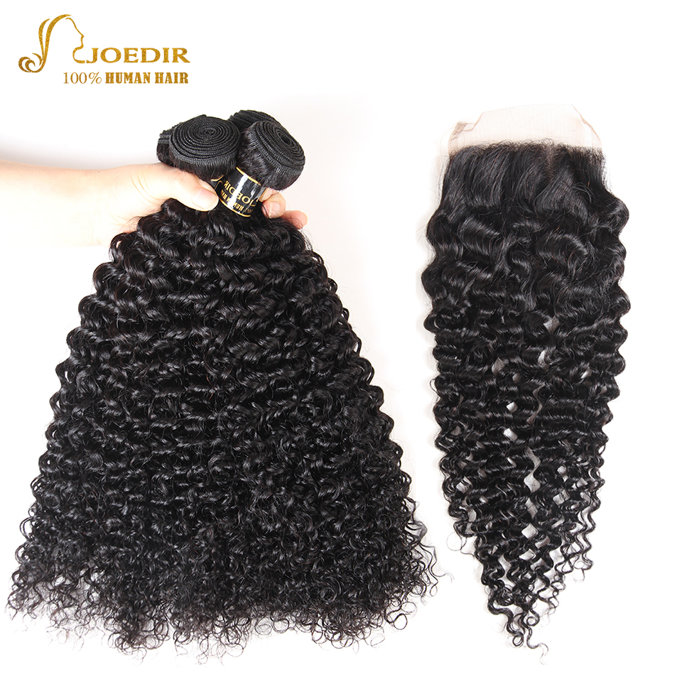 Joedir Hair Brazilian Jerry Curly Weave Human Hair 2 3 4 Bundles With Closure Non Remy Hair Bundles With Closure For Black Woman