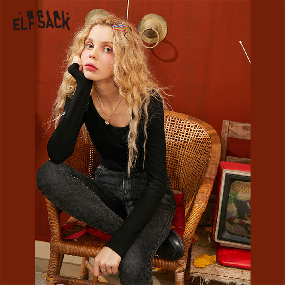 ELFSACK Black Solid Minimalist Style Women T Shirt 2020 Spring Pure Elastic Long Sleeve Skinny Office Ladies Basic Daily Tops