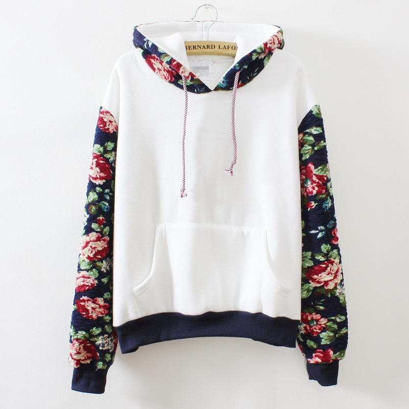 Patchwork Flower Sleeve Hoodies Sweatshirts 2019 Women Casual Kawaii Harajuku Sweat Punk Clothing European Tops Korean