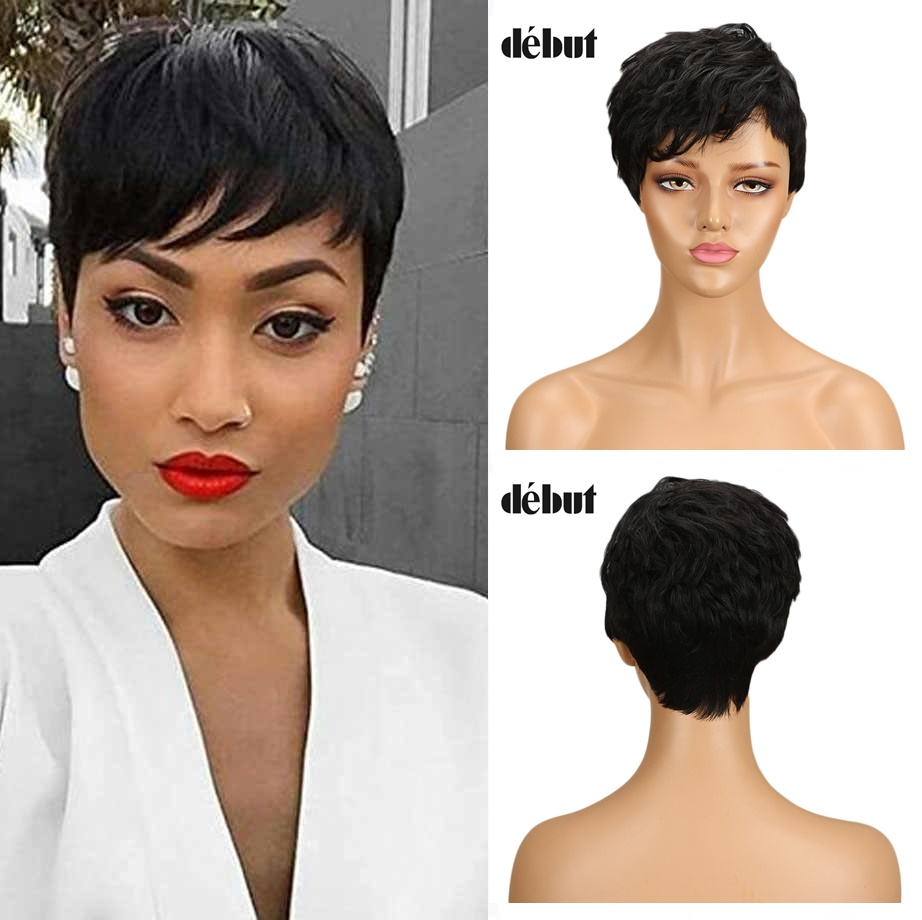 Debut Natural Black Color Short 100% Human Hair Wigs For Black Women Remy Brazilian Short Hair Wigs Curly Cheep Wigs Gifts New